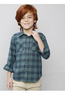Camisa Infantil Estampada Xadrez Com Bolso Manga Longa Verde