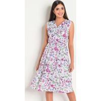 577d76afff84 Posthaus. Vestido Em Malha Crepe Floral Moda Evangélica
