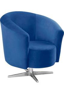 Poltrona Decorativa Angel Suede Azul Royal Com Base Estrela Giratória Em Aço Cromado - D'Rossi