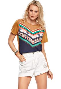 Blusa Modischt-Shirt Étnica Caramelo