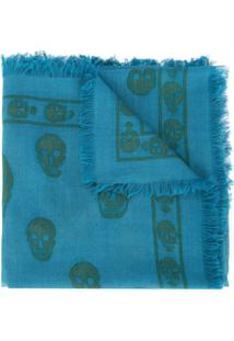 Alexander Mcqueen Cachecol Com Estampa De Caveira - Azul