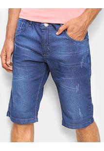 Bermuda Jeans Coffee Puídos Masculina - Masculino-Azul
