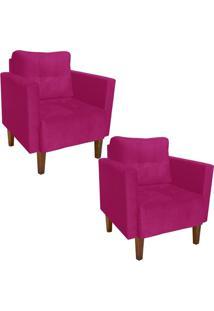 Kit 02 Poltrona Decorativa Lívia Para Sala E Recepção Suede Pink - D'Rossi