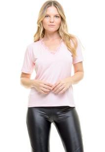 Camiseta Aura Renda Rosa
