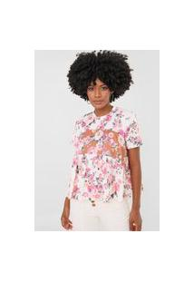 Camiseta Lança Perfume Floral Off-White/Rosa