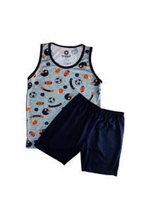 Pijama Grappin Masculino Regata E Short Curto Infantil Juvenil Basquete-E167