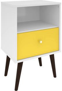 Criado Mudo 450 Mb2014 Branco/Amarelo - Pnr Móveis