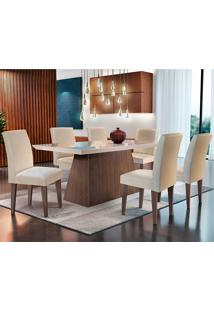Conjunto De Mesa Luna Com 6 Cadeiras Grécia-Rufato - Veludo Creme / Off White / Café / Serig Off White