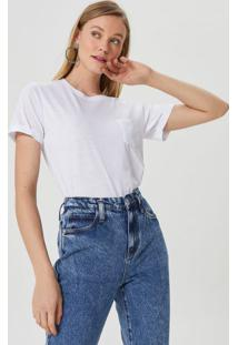 Amaro Feminino T-Shirt Básica Bolso, Branco
