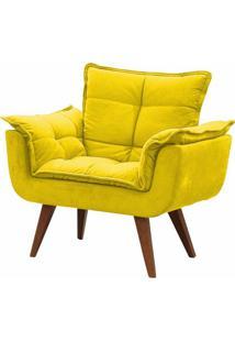 Poltrona Decorativa Opalla Suede Amarelo - Ds Móveis