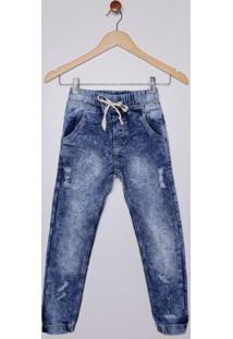 Calça Jeans Jogger Juvenil Para Menino - Azul