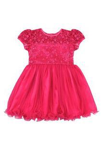 Vestido Para Festa Essência Viva Liso Floral Rosa Pink