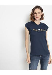 "Camiseta ""Palm Beach"" - Azul Marinho & Brancaclub Polo Collection"