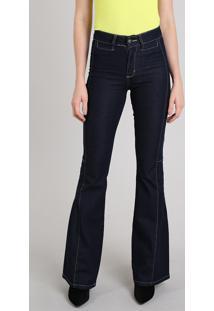 Calça Jeans Feminina Sawary Flare Com Pespontos Azul Escuro