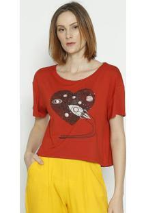 "Camiseta ""Foguete"" - Vermelha & Preta - Sommersommer"