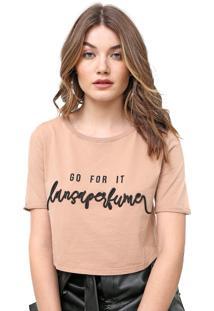 Camiseta Cropped Lança Perfume Bordada Marrom