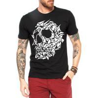 5acc681b06 Camiseta Criativa Urbana Caveira Assimétrica - Masculino-Preto