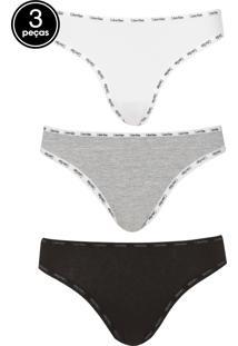 c4c240540 Kit 3Pçs Calcinha Calvin Klein Underwear Fio Dental Logo Branco Preto Cinza