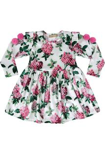 Vestido Em Veludo Florido Douvelin Pink