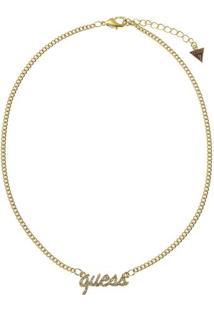 Colar Logo Com Aplicaã§Ã£O De Strass- Dourado- 39Cm