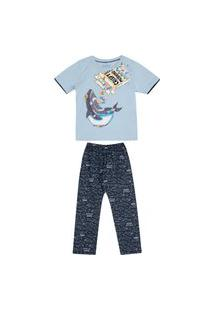 Pijama Juvenil Abrange Tubarão Azul E Azul Marinho Abrange Casual Azul