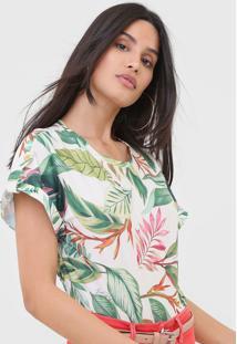 Camiseta Lança Perfume Folhagem Off-White/Verde