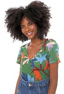 Camiseta Cantão Floral Verde/Azul