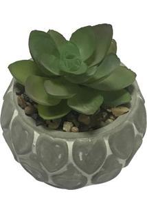 Vaso Decorativo Heart Shell Com Planta Artificial- Cinzaurban