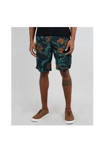 Bermuda Masculina Tradicional Estampada Floral Com Bolso Verde Escuro