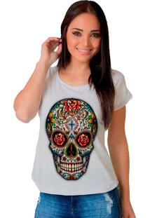 Camiseta Shop225 Caveira Colorida Branco
