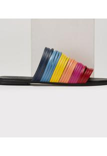Rasteira Amaro Multi Tiras Rainbow Preto - Preto - Feminino - Dafiti