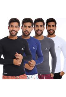 Kit Com 4 Camisas Uv Masculinas Com Proteção Solar Multicor