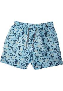Bermuda Masculina Elástico Estampa Praia Confortável Casual - Masculino-Azul Claro
