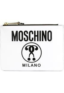 Moschino Clutch De Couro Com Logo - Branco