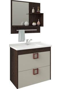 Conjunto Para Banheiro Com 1 Porta Lirio-Mgm - Cafe / Off White