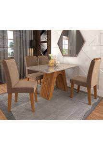 Conjunto De Mesa Clara Para Sala De Jantar Com 4 Cadeiras Taís Moldura -Cimol - Savana / Offwhite / Pluma