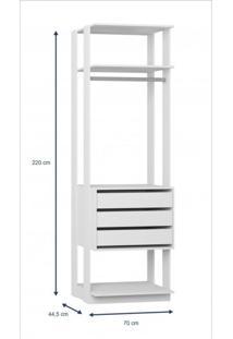 Módulo Closet 3 Gavetas E Cabideiro Clothes 700 Be Mobiliário Branco