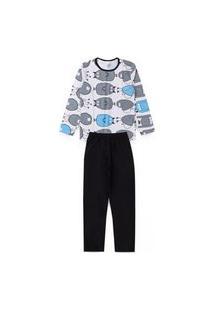 Pijama Juvenil Monstrinhos Branco 2825 - Kappes