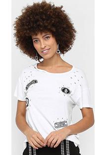 Camiseta Road Mel Com Aplicação Feminina - Feminino-Off White