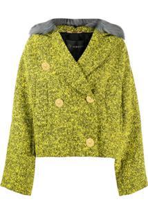 Versace Jaqueta Com Acabamento Em Pelos - Verde