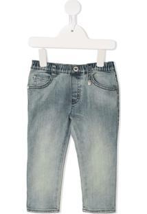 Emporio Armani Kids Calça Jeans Com Efeito Desbotado - Azul