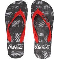 da14456b66 Chinelo Coca Cola Shoes Folhagem Preto Vermelho