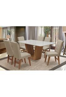 Conjunto De Mesa Para Sala De Jantar Com 6 Cadeira Veneza-Dobue - Cedro / Branco Off / Bege Vlp