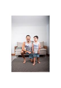 Pijama Adulto Masculino Curto Família Pai Xadrez