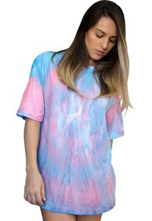Camiseta Boutique Judith Tie Dye Galaxy Pink Blue Rosa - Kanui