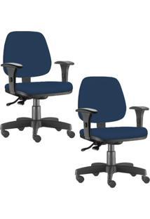 Kit 02 Cadeiras Giratórias Lyam Decor Job Suede Azul Marinho