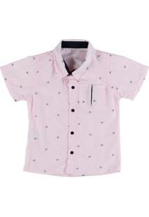 Camisa Manga Curta Infantil Para Menino - Rosa