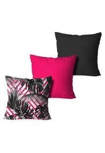 Kit 3 Capas Para Almofadas Decorativas Love Decor Sheets Multicolorido Rosa