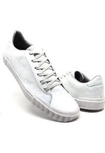 Tenis Casual Masculino Em Couro Super Boots - Preto - Masculino-Branco
