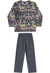 Pijama Bebê Blusa E Calça Meia Malha Pai E Filho Quimby Masculino - Masculino-Cinza